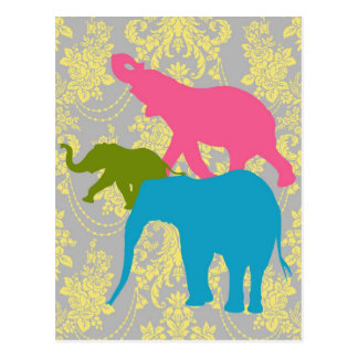 Elephant on Damask Floral - Pink, Blue and Green Postcard