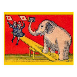 Elephant on Seesaw with Camera Children Postcard