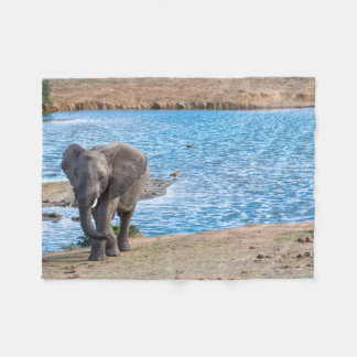 Elephant on the lake fleece blanket