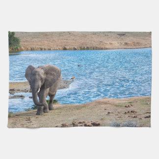 Elephant on the lake tea towel