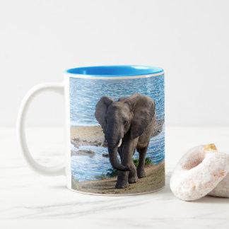 Elephant on the lake Two-Tone coffee mug