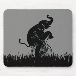Elephant on Vintage Bike Pattern Mouse Pad