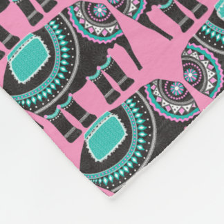 Elephant Ornate on Pink, Adorable Cute Fleece Blanket