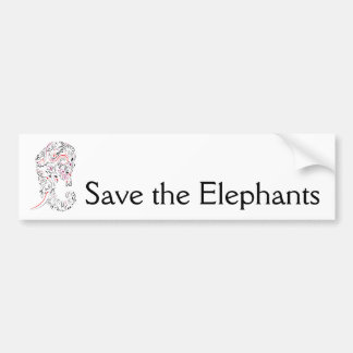 elephant ornate save the elephants bumper sticker