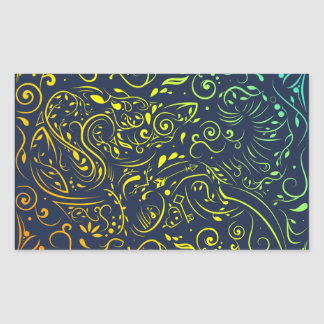 elephant ornate summer fade rectangular sticker