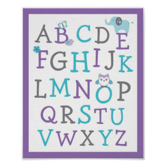 Elephant Owl Alphabet Nursery Wall Art