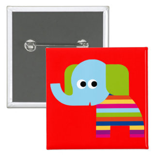 Elephant Pachyderm Elephants Cute Cartoon Animal 15 Cm Square Badge