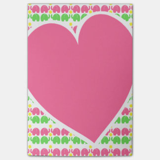 Elephant Pattern and Heart Post-it Notes