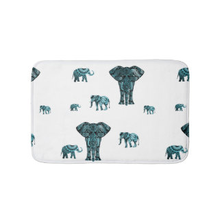 Elephant Pattern Bath Mat