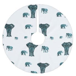 Elephant Pattern Brushed Polyester Tree Skirt