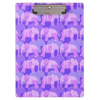 Elephant Pattern Clipboard - Purple