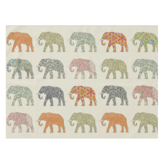 elephant pattern colorful animals tablecloth
