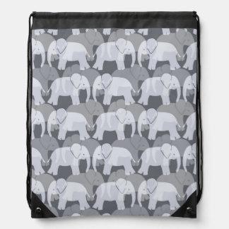 Elephant Pattern Drawstring Backpack - Grey