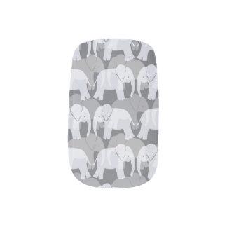 Elephant Pattern Minx Nails - Grey Minx Nail Art