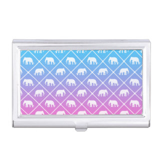 Elephant pattern on blue to pink gradient business card holder