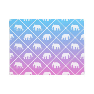 Elephant pattern on blue to pink gradient doormat