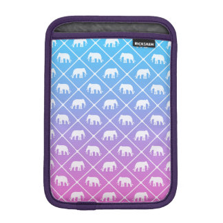 Elephant pattern on blue to pink gradient iPad mini sleeve