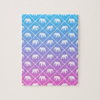 Elephant pattern on blue to pink gradient jigsaw puzzle