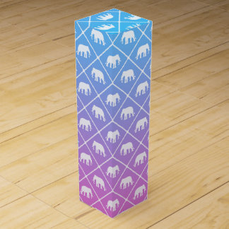 Elephant pattern on blue to pink gradient wine gift box