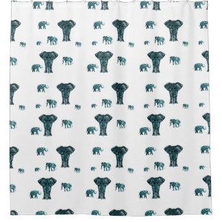 Elephant Pattern Shower Curtain