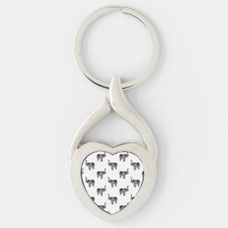 Elephant Pattern Silver-Colored Twisted Heart Key Ring