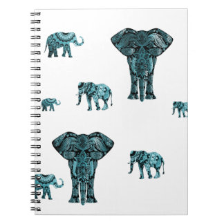 Elephant Pattern Spiral Notebook