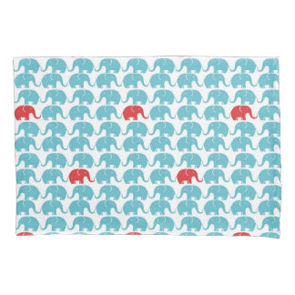 elephant pattern with red accent pillowcase