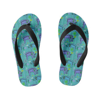Elephant Patterned Children's Flip-Flops Kid's Thongs