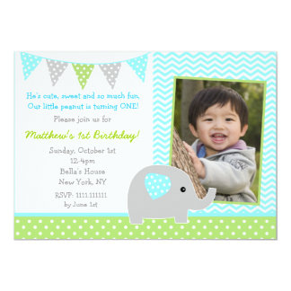 Elephant Photo Birthday Party Invitations for Boy