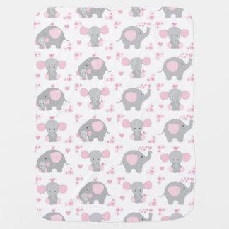 Elephant Pink Gray Safari Animal Nursery Baby Girl Baby Blanket