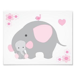 Elephant Pink Grey Gray Nursery Baby Girl Wall Art