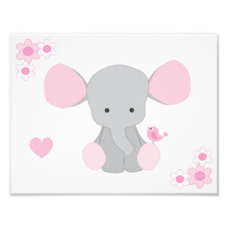 Elephant Pink Grey Gray Nursery Baby Girl Wall Art Photo Print