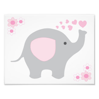 Elephant Pink Grey Grey Nursery Baby Girl Wall Art