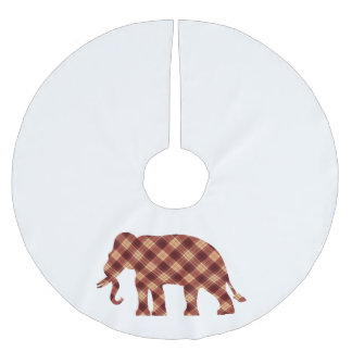 Elephant plaid brushed polyester tree skirt