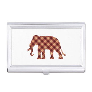 Elephant plaid business card holder