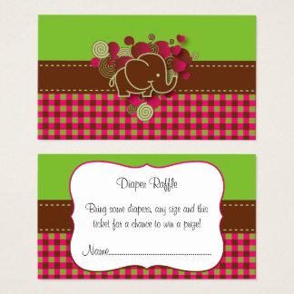Elephant Plaid Diaper Raffle Business Card