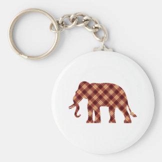 Elephant plaid key ring
