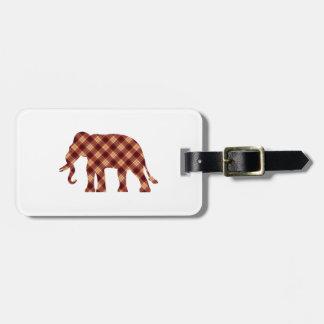 Elephant plaid luggage tag