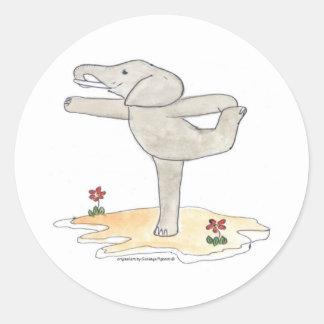 Elephant Practicing Yoga Dancer s pose Round Stickers