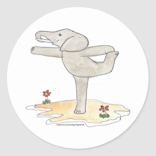 Elephant Practicing Yoga Dancer's pose Round Stickers
