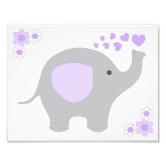 Elephant Purple Gray Nursery Baby Girl Wall Art