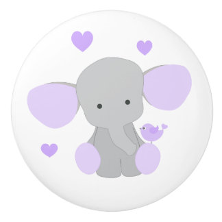 Elephant Purple Safari Animal Baby Girl Nursery Ceramic Knob