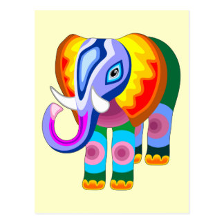 Elephant Rainbow Colors Patchwork postcards