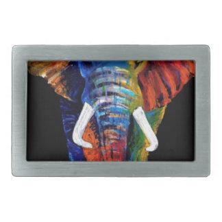 ELEPHANT RETRO STYLE RECTANGULAR BELT BUCKLE