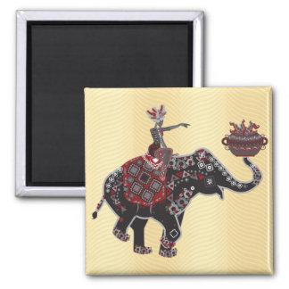Elephant Rider Square Magnet