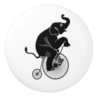 Elephant Riding a Bike Ceramic Knob