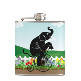 Elephant Riding a Bike Hip Flask