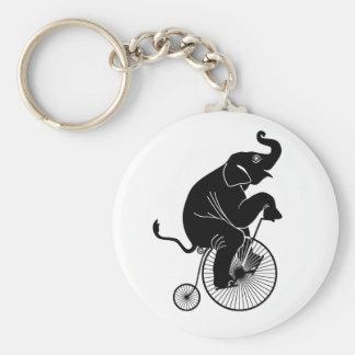 Elephant Riding a Bike Key Ring