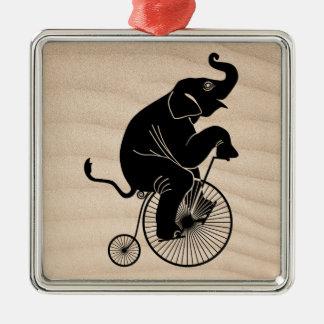 Elephant Riding a Bike Metal Ornament