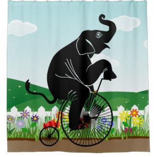 Elephant Riding a Bike Shower Curtain